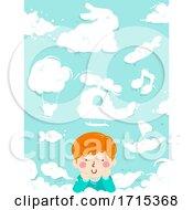 Kid Boy Imagine Clouds Illustration
