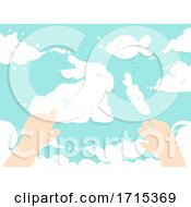 Poster, Art Print Of Kid Hands Clouds Form Bunny Fish Illustration