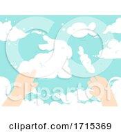 Kid Hands Clouds Form Bunny Fish Illustration