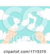 Poster, Art Print Of Kid Hands Clouds Music Notes Illustration