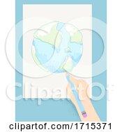 Poster, Art Print Of Kid Hand Draw Earth Pencil Illustration
