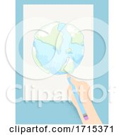 Kid Hand Draw Earth Pencil Illustration
