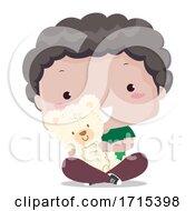 Kid Boy Fluffy Toy Adjective Illustration