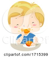 Kid Boy Juicy Orange Adjective Illustration