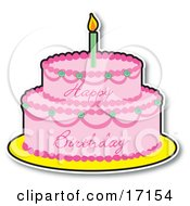 Two Layered Birthday Cake With Pink Frosting And A Lit Candle On Top Clipart Illustration by Maria Bell
