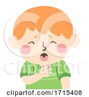 Kid Boy Choking Illustration