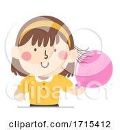 Kid Girl Static Balloon Hair Illustration