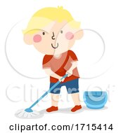 Kid Boy Clean Chores Mop Floor Illustration