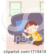 Kid Boy Clean Hand Vacuum Floor Illustration
