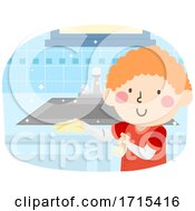 Kid Boy Clean Kitchen Sink Illustration