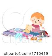 Kid Girl Pack Her Own Luggage Illustration