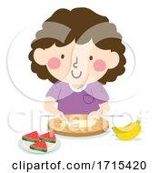 Poster, Art Print Of Kid Girl Slice Fruits Illustration