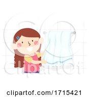 Kid Girl Task Chores Hang Towel Illustration
