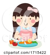 Kid Girl Use Safety Hand Guard Tool Illustration