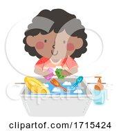Kid Girl Dish Washing Toys Illustration