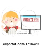 Kid Boy Enter To Win Illustration