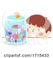Kid Boy Jar Things Illustration