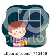 Kid Boy Rain Flashlight Illustration