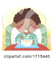 Poster, Art Print Of Kid Boy Sick Eat Alone Bed Illustration