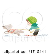 Kid Boy Skijoring Illustration