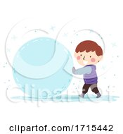 Kid Boy Snow Ball Illustration
