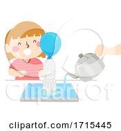 Kid Girl Fill The Balloon Bottle Illustration