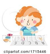 Poster, Art Print Of Kid Girl Finger Paint Letter Illustration