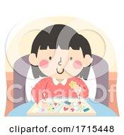 Kid Girl Sick Activity Craft Bed Illustration