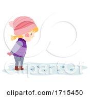 Kid Girl Snow Paw Prints Illustration