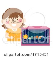 Kid Girl Solar System Diorama Illustration