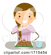 Stickman Teen Girl Exotic Food Illustration