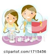 Stickman Teen Girl Mom Baking Bonding Illustration