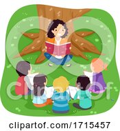 Teen Girl Read Kids Books Under Tree Illustration