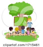 Stickman Teen Guy Teach Kids Outdoors Illustration