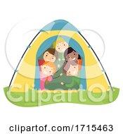 Stickman Teens Group Camp Tent Illustration