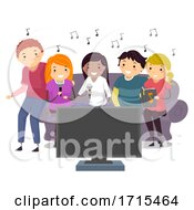 Stickman Teens Home Karaoke Bonding Illustration