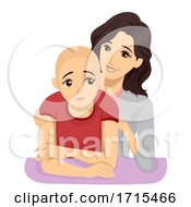 Teen Girl Alopecia Mom Comfort Illustration