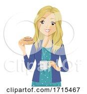 Poster, Art Print Of Teen Girl Coffee Cinnamon Bun Sweden Fika