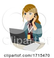Teen Girl Intern Answer Phone Call Illustration