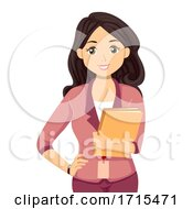 Teen Girl Intern Hold Files Illustration