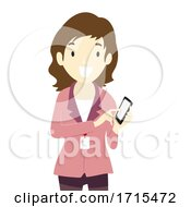 Teen Girl Intern Phone Know Contacts Illustration