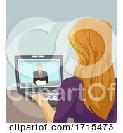 Teen Girl Man Online Interview Illustration