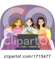 Teen Girls Slumber Movie Marathon Illustration