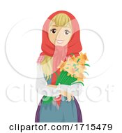 Teen Girl Sweden Easter Witch Daffodils