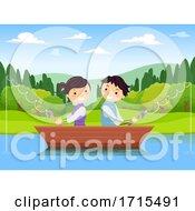 Stickman Teens Couple Fishing Lake Illustration
