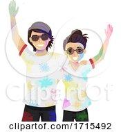 Teen Couple Holi Powder Illustration
