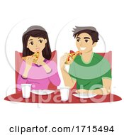 Teens Couple Eat Pizza Illustration
