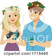 Teens Couple Sweden Midsummer Festival Wreath