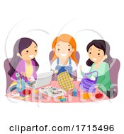 Stickman Teen Girls Friends Arts Crafts Sewing