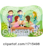 Poster, Art Print Of Stickman Teens Beer Garden Illustration